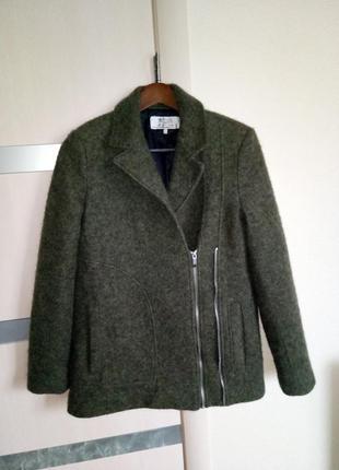 Классное шерстяное пальто косуха zara