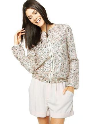 Брендовый бежевый пиджак жакет куртка блуза stile beneton паетки этикетка