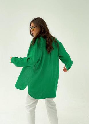 Льняная зеленая рубашка