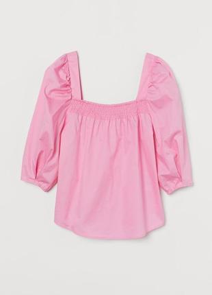 Блуза топ c объемными рукавами и квадратным вырезом качественная стильная розовая новая h&m