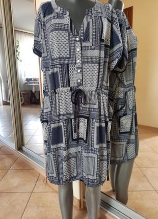 Комфортное вискозное с карманами платье 👗большого размера