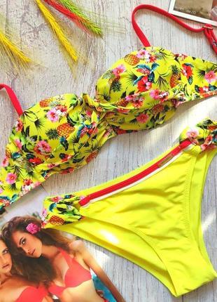 Яркий сочный купальник бандо ананасики