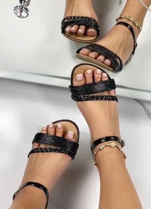 Женские босоножки сандали чёрные низкий ход