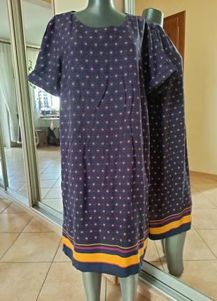Вискозное с карманами платье 👗большого размера