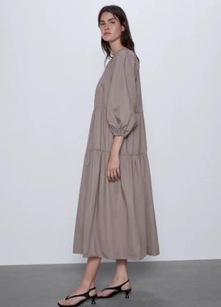 Легкое летнее платье сарафан поплиновое zara4 фото