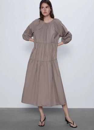 Легкое летнее платье сарафан поплиновое zara3 фото