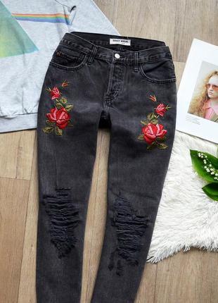 Бомбезні мом джинси tally weijl із чудовою вишивкою2 фото