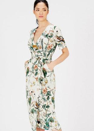 Распродажа натуральное платье warehouse миди с принтом птиц на запах asos