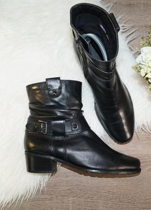 (37р./24,5см) roberto santi! кожа! базовые полусапожки на устойчивом каблуке