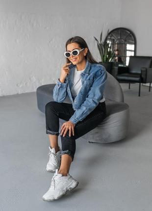 Синяя джинсовая женская джинсовая укороченная курточка джинс3 фото