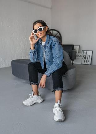Синяя джинсовая женская джинсовая укороченная курточка джинс8 фото