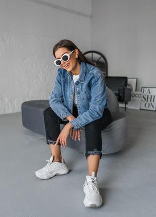 Синяя джинсовая женская джинсовая укороченная курточка джинс6 фото