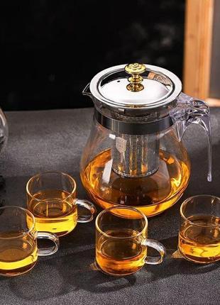 Стеклянный чайник - заварник для чая, пуэра 350 мл