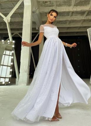 Платье белое с разрезом софт вечернее блестящее макси