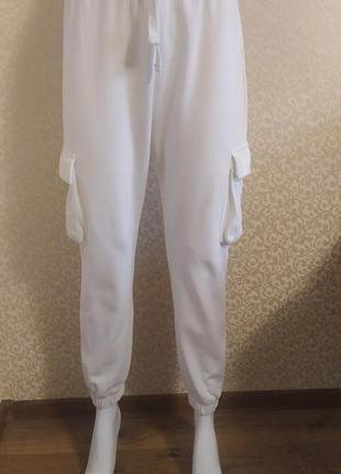 Белые спортивные брюки ,карго zara