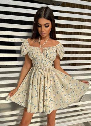 Летнее цветочное платье с завязками на груди💕