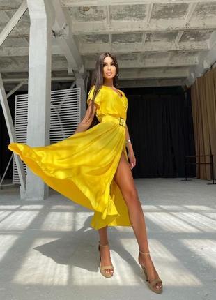 Платье желтое миди лимон лимонное с поясом ремнём