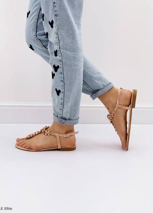Босоножки шлепанцы сандалии в камнях бежевые эко кожа4 фото