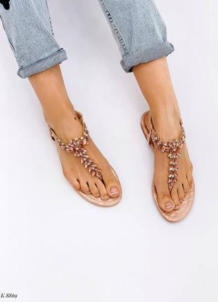 Босоножки шлепанцы сандалии в камнях бежевые эко кожа7 фото