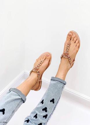 Босоножки шлепанцы сандалии в камнях бежевые эко кожа8 фото