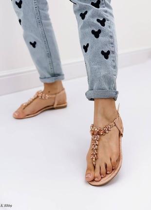 Босоножки шлепанцы сандалии в камнях бежевые эко кожа2 фото