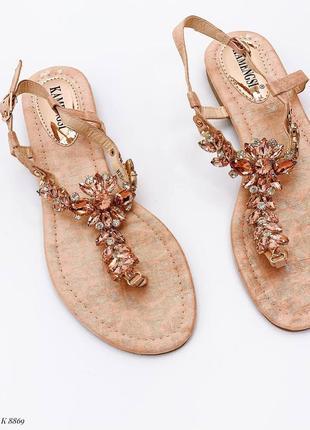 Босоножки шлепанцы сандалии в камнях бежевые эко кожа10 фото