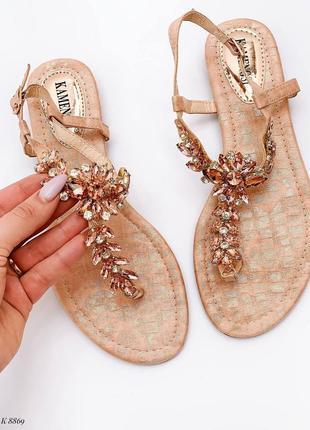 Босоножки шлепанцы сандалии в камнях бежевые эко кожа