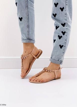 Босоножки шлепанцы сандалии в камнях бежевые эко кожа9 фото