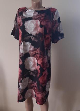Мега стильное, очень красивое платье с цветочным принтом. скроет все недостатки фигуры. высокое качество!