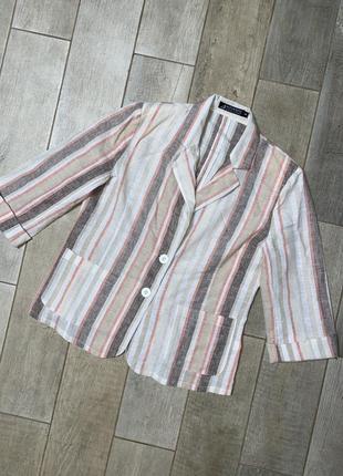 Льняной жакет в полоску,льняной пиджак