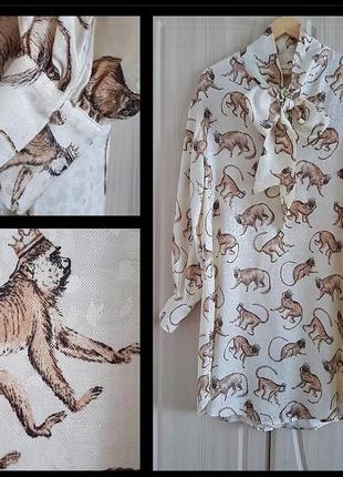 Шикарное модное платье в принт с обезьянами