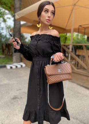 Стильное платье базовое миди с открытыми плечами с поясом  из льна льняное