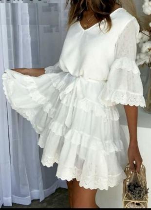 Платье хлопковое белое