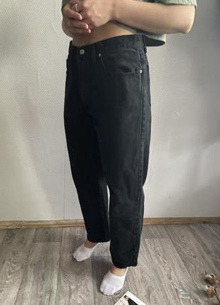 Чёрные mom джинсы размер л хл плотные easy