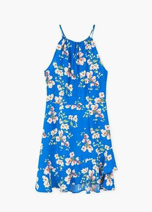 Шикарное платье с чокером и рюшами в цветочный принт