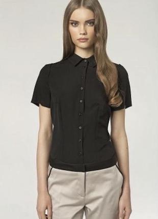 Брендовая чёрная блуза nafnaf с короткими рукавами офисная летняя дресс код