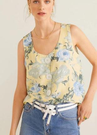 Льняная блуза топ mango original spain