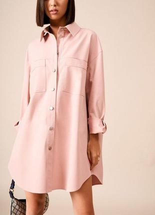 Платье рубашка туника на пуговицах с поясом