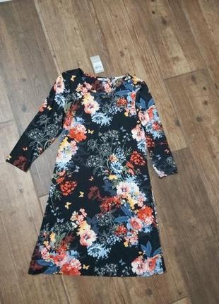 Платье миди в цветочный принт прямого кроя