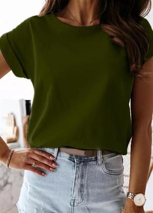 🌸базовая футболка, хлопковая🍒с отворотами, модная, легкая, свободная, повседневная, 301/001 301/001, 🌹хаки