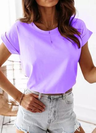 🌸базовая футболка хлопковая🍒с отворотами, легкая, свободная, повседневная, 301/001, 🌹лаванда