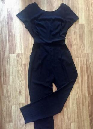 Комбинезон ромпер брюками с кружевной спинкой шифон летний черный