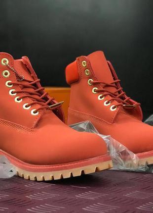 Ботинки timberland осенние морковного цвета
