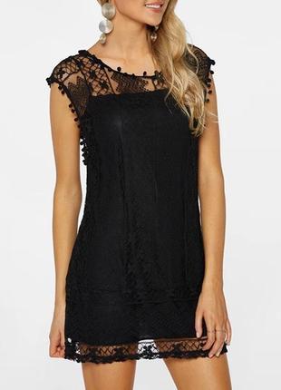Чёрное ажурное стильное платье мини р-р s/m. супер!
