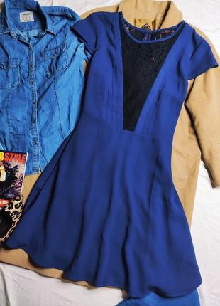 So fabulous платье новое синее с вставками черного гипюра большое батальное свободное миди