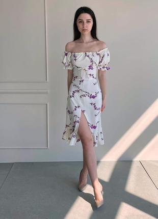 Платье цветы, белый цвет