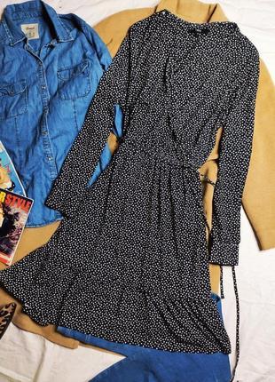 Next платье серое белое в горошек с поясом миди длинный рукав с воланами большое оверсайз