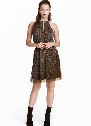 Золотистое платье от h&m новое металлик р-р м