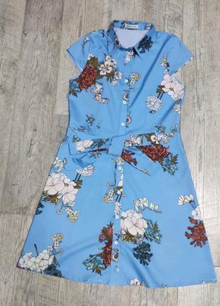 Стильна синя сукня рубашка на гудзиках трапеція