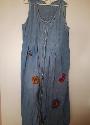 Длинный сарафан бохо из тонкого джинса, бохо ,макси,  большой р-р